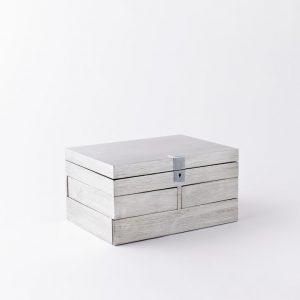 Grand Lacquer Jewelry Box, Antique Silver